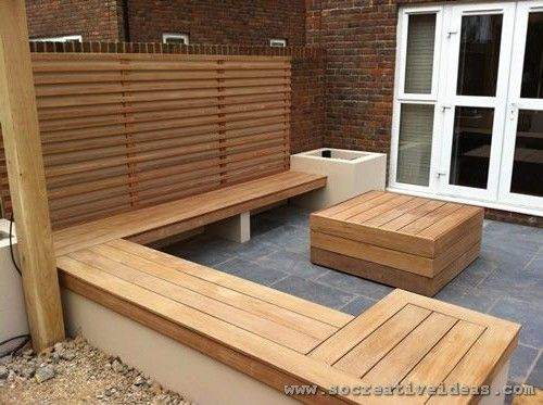 wooden seating for backyard