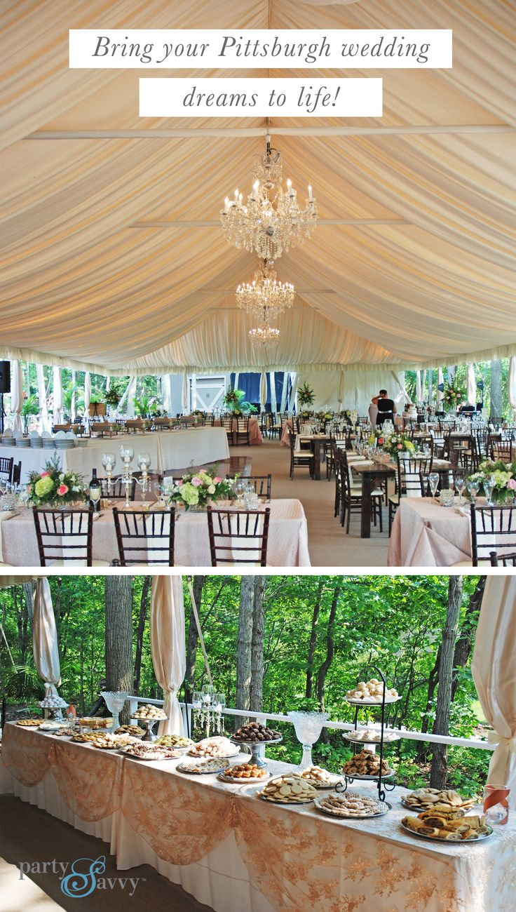 Let PartySavvy make your Pittsburgh wedding dreams a reality! We have been renting wedding equipment and supplies to the Pittsburgh region since 1970 (so we know a thing or two about cookie tables). Request your quote today!