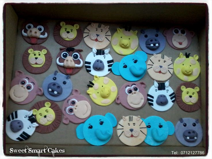 Wild animal cupcake toppers set (8 piece) @ R75 For more info & orders, email SweetArtBfn@gmail.com or call 0712127786, WhatsApp 0646446495