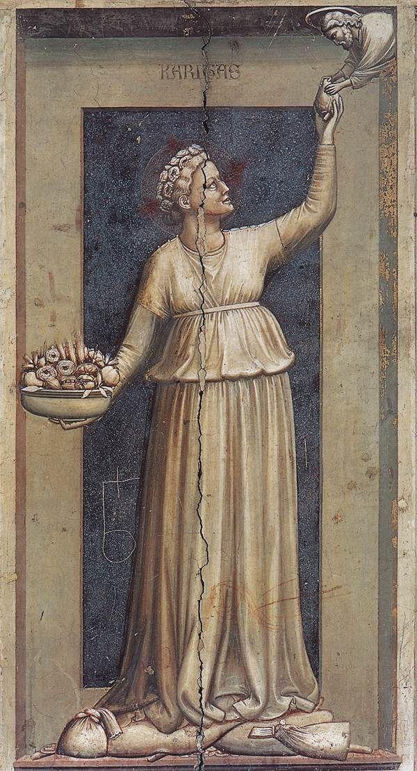 The Seven Virtues: Charity    1306  Fresco, 120 x 55 cm  Cappella Scrovegni (Arena Chapel), Padua  Giotto