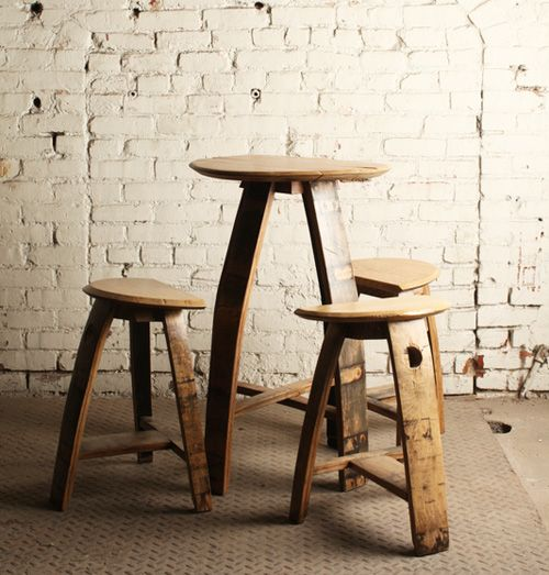 Bar stool made of white oak bourbon barrels