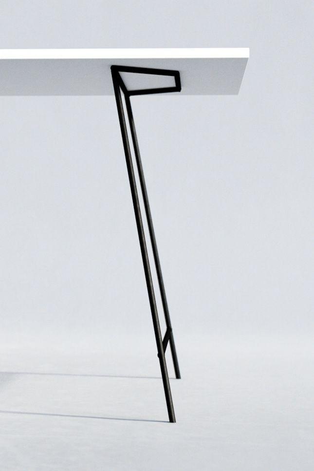 Minimal design metal table legs.