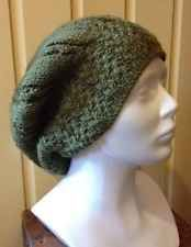 Mock Cable Beret Hand Knit Hat, Moss Green, Womens