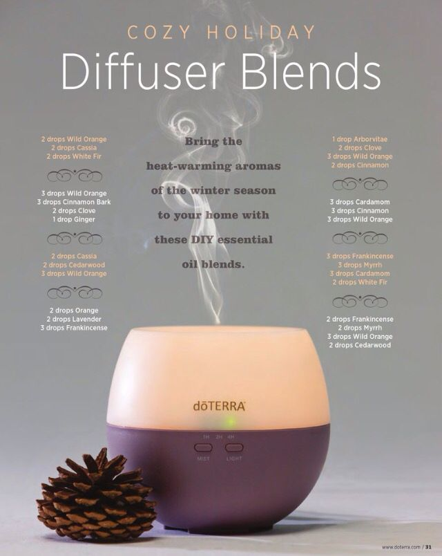 Cozy fall and winter essential oil diffuser blends