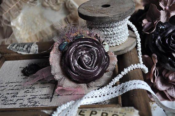 Vintage Romance Velvet brooch rose pin  rose rosette  rose
