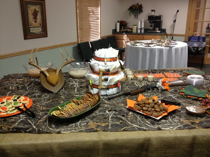Hunting camo theme baby shower party shower ideas for Camo bathroom ideas