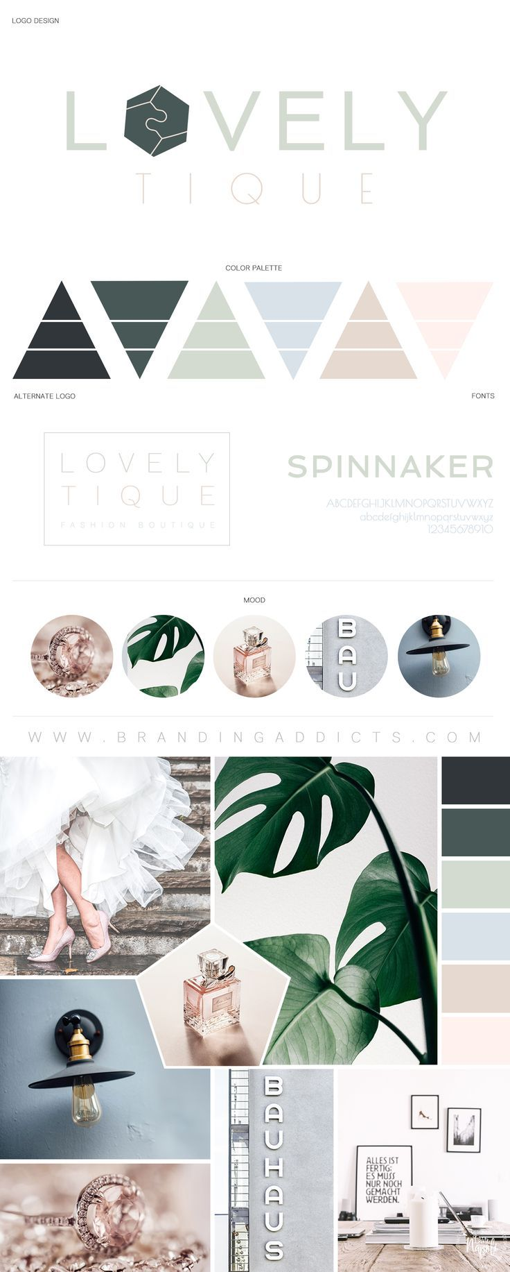 Trendy and chic branding for a modern fashion boutique. Wedding. Feminine. Green