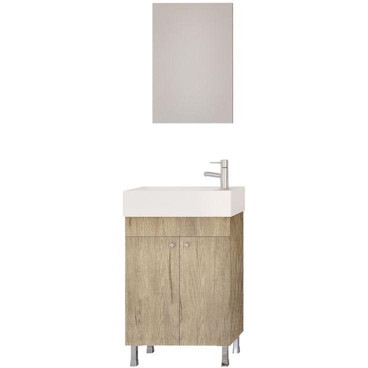 "DP Floor Standing Bath Vanity Cabinet Set 19.7"" Single Sink W/ Frameless Mirror"