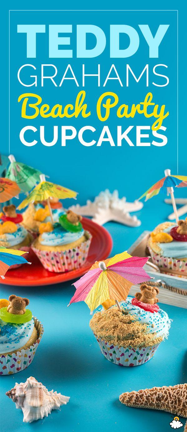 Teddy Grahams Beach Party Cupcakes