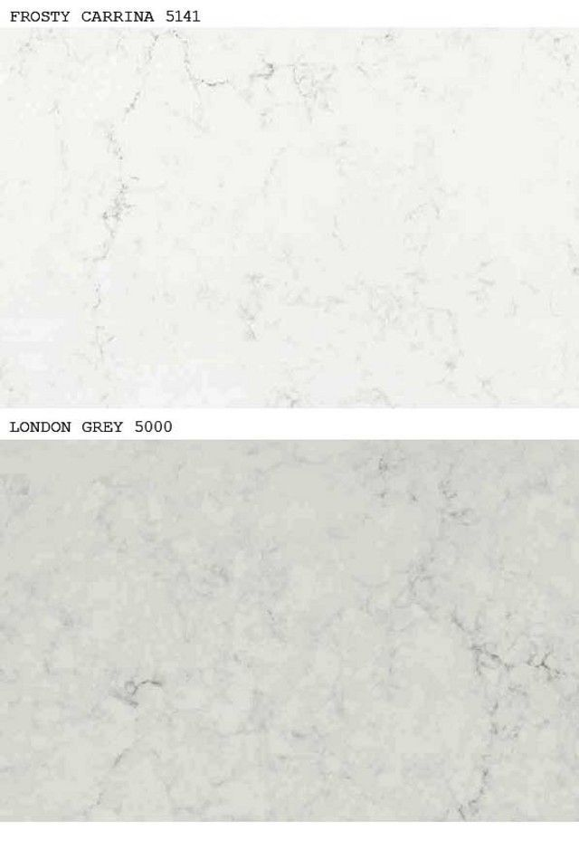 Caesarstone Frosty Carrina vs Caesarstone London Grey - Frosty Carrina is more white overall with slight gray tint; London Grey has a distinct grey tone with gray and slightly beige veining giving it a warmish hue