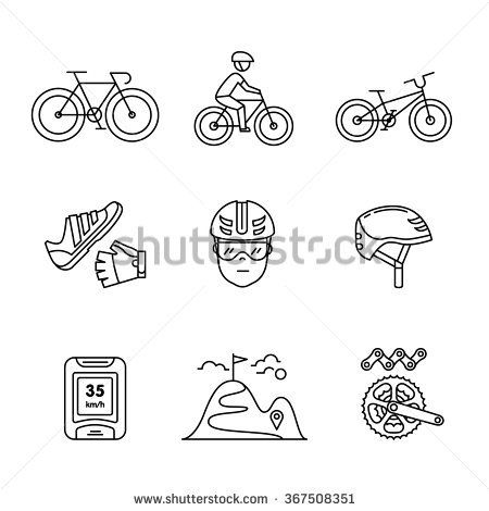 Bike cycling and biking accessories sign set. Thin line art icons. Linear style illustrations isolated on white.
