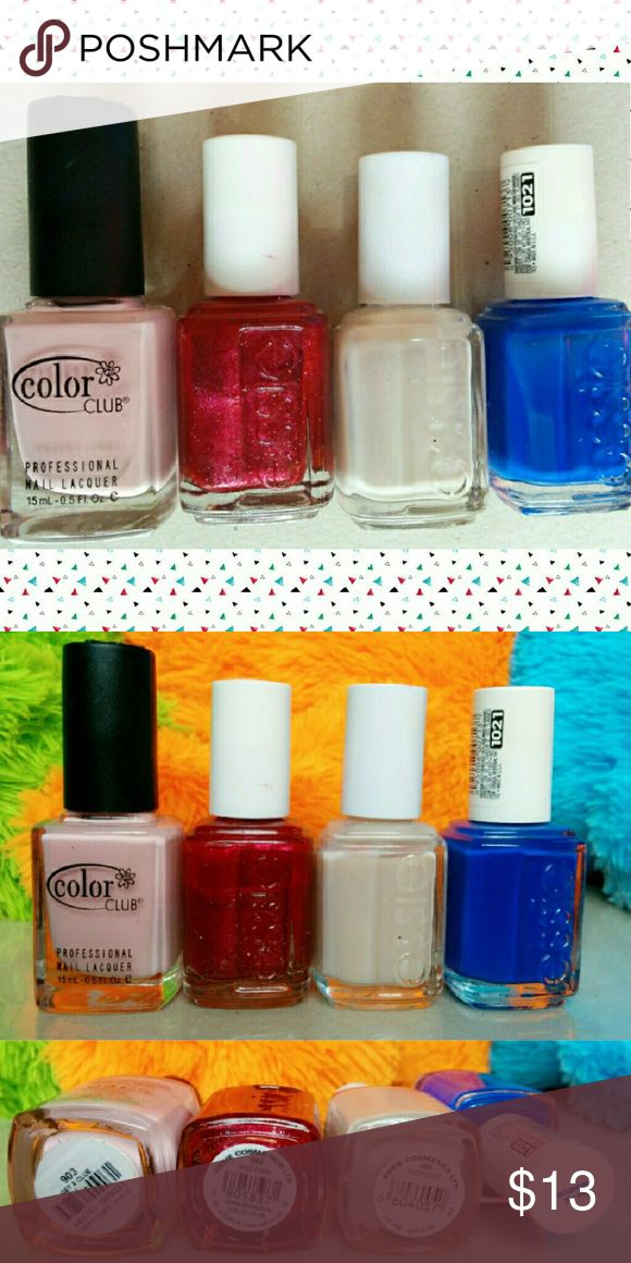 Essie & Color Club Red White & Blue Nail Bundle One Color Club nail polish in cream pink (Get A Clue) and three Essie nail lacquer shimmers in red, white and blue!  Wild Thing (deep red), Overnight (glittered white), Bouncer It's Me (neon blue). Variety of finishes and colors, from neon to the perfect pink for a French manicure! All tested on one nail. Essie  Makeup