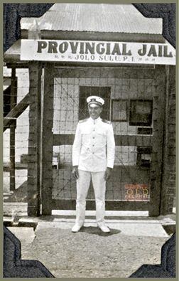 """""""Ensign Bill Turnbull posing at the Jolo Provincial Jail."""" https://www.facebook.com/656729927676590/photos/a.656904224325827.1073741832.656729927676590/1186361524713425/?type=3 Photo Date: ca.1926  Credit: NOAA"""