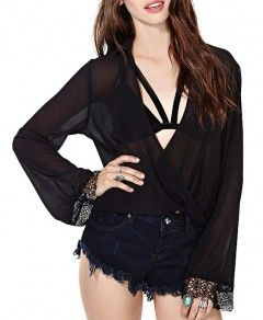 Deep V-Neckline Embroidery Loose Fit Chiffon Blouse