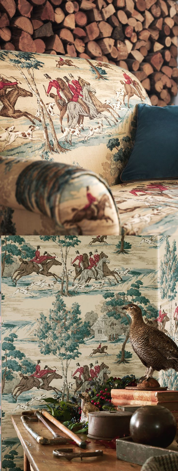 sanderson tally ho vintage wallpaper and fabric. hunt and hound scene...