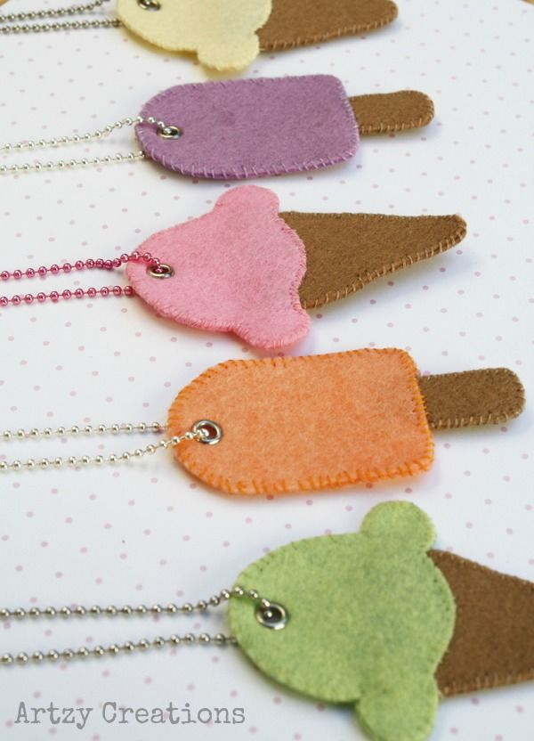 Ice Cream and Popsicle Necklaces For Kids with Free Template | artzycreations.com