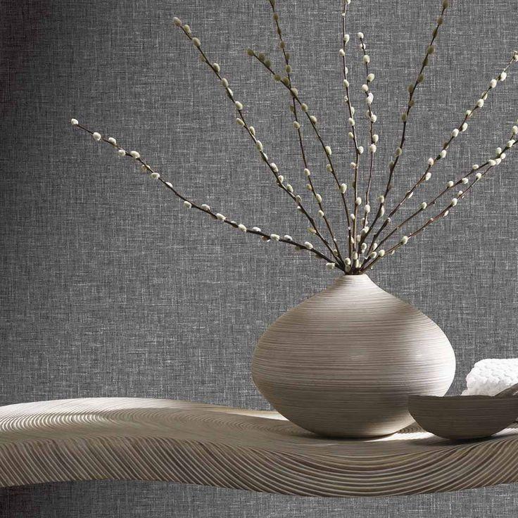 Arthouse Linen Texture Charcoal Wallpaper Charcoal Wallpaper Grey Linen Wallpaper Linen Wallpaper