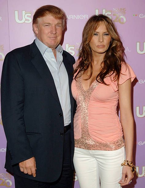 Donald Trump and wife Melania Trump during US Weekly's Young Hollywood Hot 20 September 16 2005 at LAX in Hollywood California United States