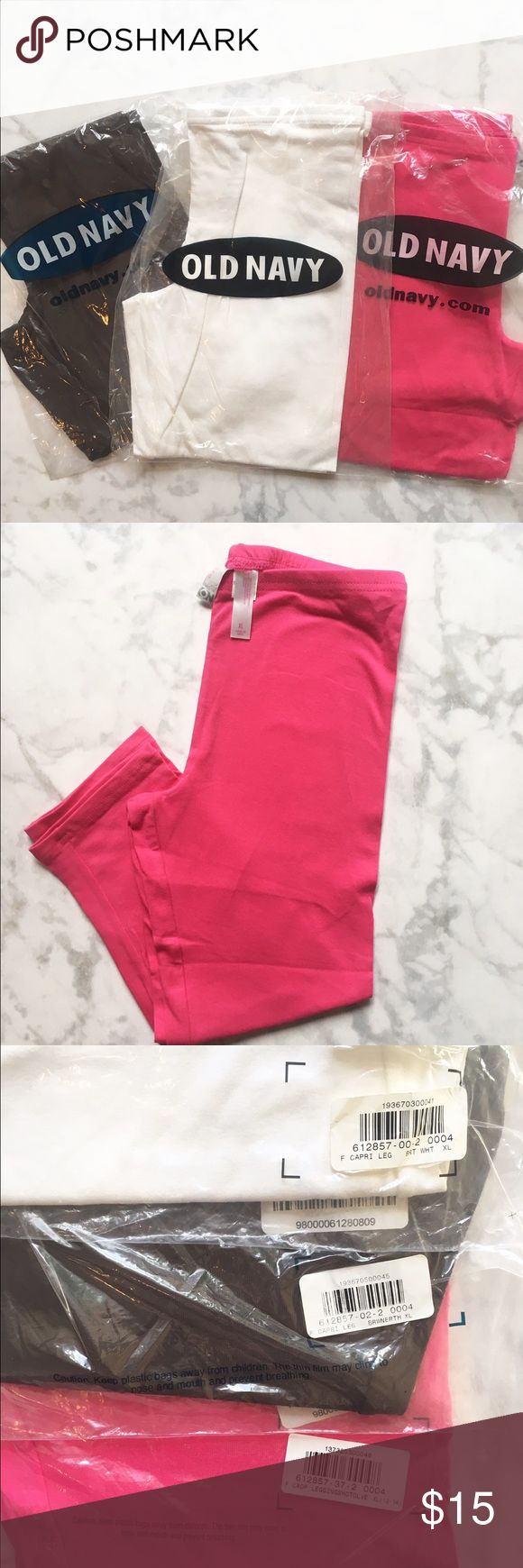 🌷NWT!🌷Set of 3 Capri Leggings 🌷NWT!🌷Girls Set of 3 Capri Leggings. Colors: Pink, White, and Black. Size XL. Great Staple Pieces to have! Old Navy Bottoms Leggings