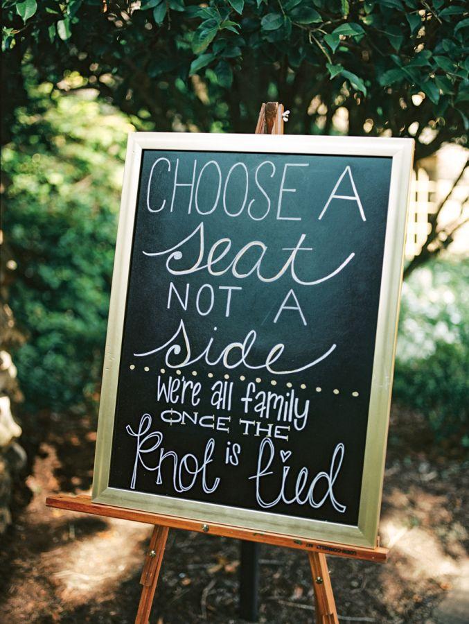 Choose a seat, not a side: http://www.stylemepretty.com/north-carolina-weddings/winston-salem/2016/01/02/romantic-graylyn-estate-wedding/   Photography: Marcie Meredith - http://marciemeredith.com/