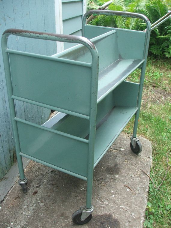 Vintage Industrial Metal Rolling Cart Library Book Shelf