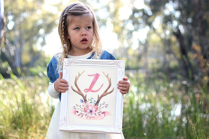 Personalized Monogram Nursery Wall Art - Printable Art - Girl Boho Nursery Decor - Boho Print - Digital Art - Watercolor Art - Initial Print by SmudgeCreativeDesign on Etsy