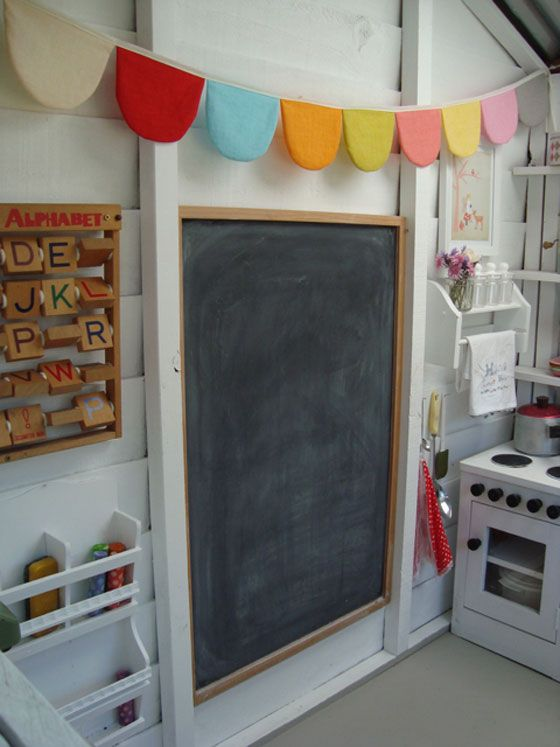 Interior of Wendy house- chalk board wall for coloring inside play house