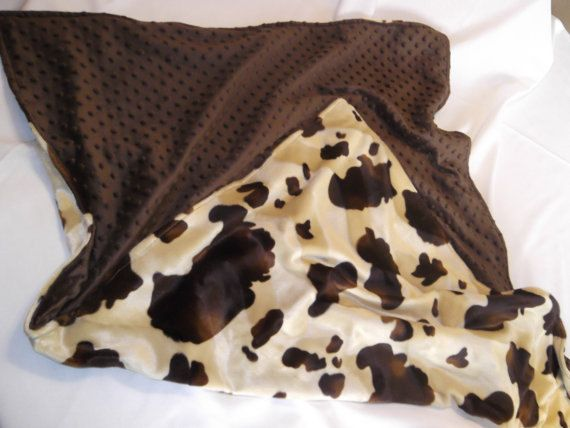 Western Baby Blanket Cow Print And Minky  by RockinEBoutique