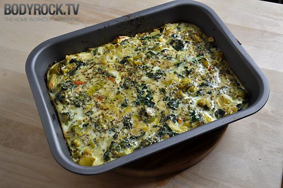 VEGGIE QUICHE  3 handfuls of fresh spinach, 2 tomatoes, 1 medium size leek, 2 cloves of garlic, 1 egg 5 egg whites, about 2 cups of broccoli, olive oil, and salt & pepper. Saute veggies pour eggs over bake at 175 15-20 minutes
