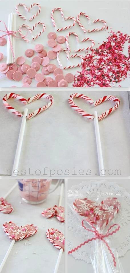 """A friend and I did this last year for the OSC luncheon...pretty easy :) Candy cane minis (unwrap & place in heart shape on wax paper) Lollipop sticks or striped straws are cute too, pink Chocolate """"Melts"""" (use a spoon to spread the chocolate in your hearts) and sprinkle for fun. allow time to dry & firm"""