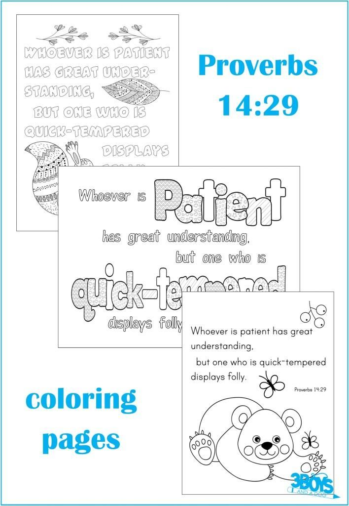 Proverbs 14 29 Coloring Page Set For Kids Adults Bible Lessons