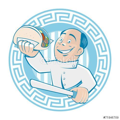 Vektor: griechisch essen grieche gyros restaurant