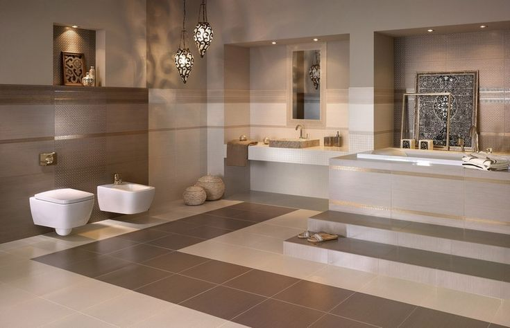 Design Bathroom With Warm Beige Brown Nuances Bathroom Ideas Couleur Salle De Bain Salle De Bains Moderne Amenagement Salle De Bain