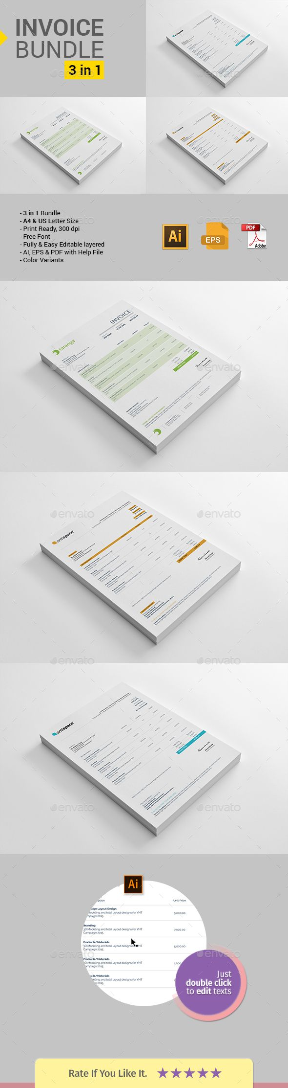 Invoice Bundle — Vector EPS #business invoice #red invoice • Available here → https://graphicriver.net/item/invoice-bundle-4in1/20776815?ref=pxcr