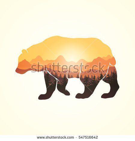 Panoramic view through hand drawn bear silhouette