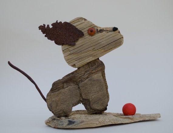Reclaimed wood dog sculpture...driftwood animal by JunkSoupArt