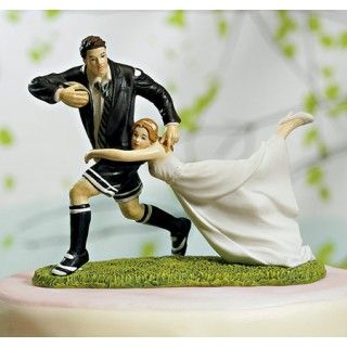 A Love Match Customized Bride and Groom Wedding Cake Top Figurines Playing Soccer #daisydays