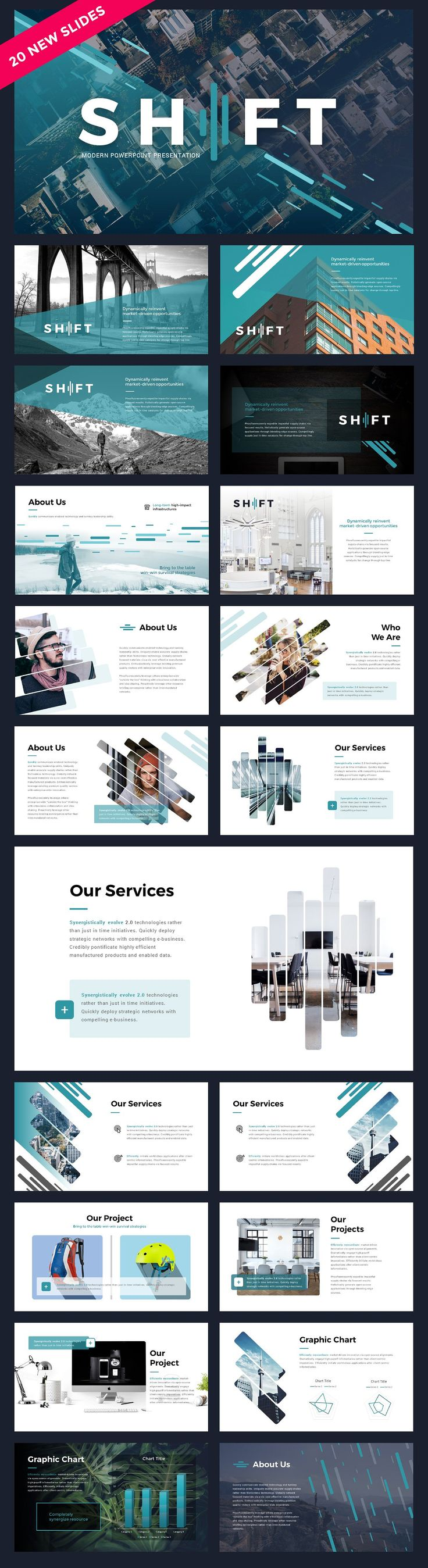 Modern pitch deck slide presentation template for start-ups and other businesses. Features interesting graphics, modern typography, and subtle coloring.