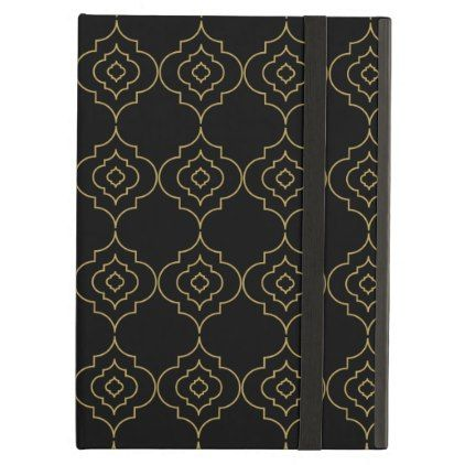 Black and gold Moroccan trellis pattern Cover For iPad Air - pattern sample design template diy cyo customize