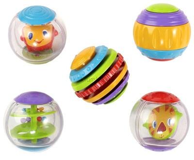 Bright Starts Забавные мячики  ~500  Сенсорные шарики, похожие есть у playskool. Львенок в одном шарике интересно крутится.