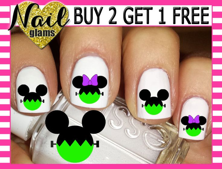 60 Nail Decals - Mickey & Minnie Ears Head - FRANKENSTEIN  - Disney Halloween - Nail Art by ThePunkyPanda on Etsy