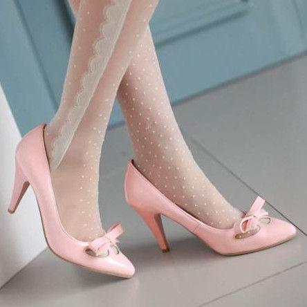 Лакированные туфли сексуальная мода бантом острым носом женщины насосы плюс размер 33-43 тонкие высокие каблуки высокое качество свадебная обувь женщина