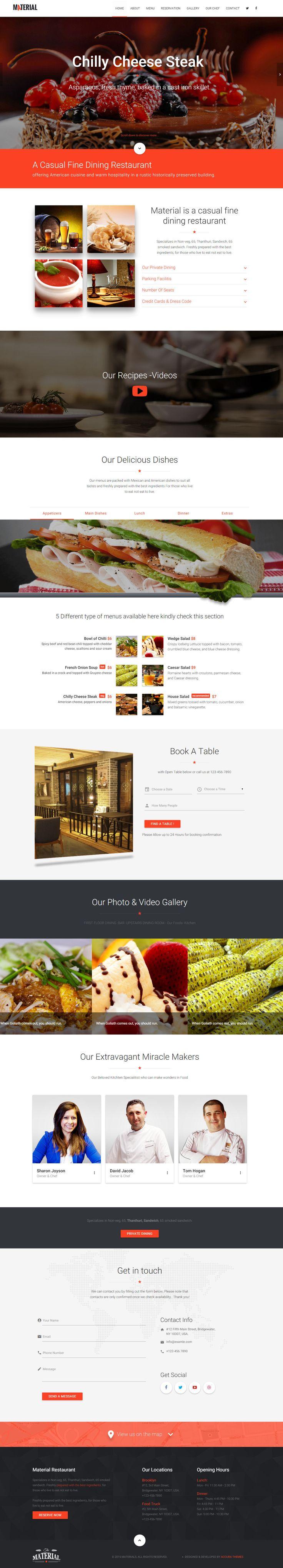 Material Responsive RestaurantCafe HTML Template 9 best 9