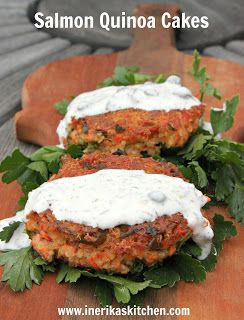 Salmon quinoa cakes with dill caper sauce - Been inspired to try ...