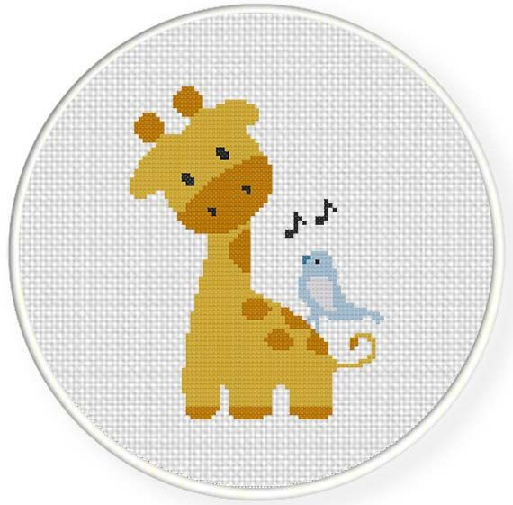 INSTANT DOWNLOAD Stitch Giraffe And Birdie PDF Cross Stitch Pattern Needlecraft