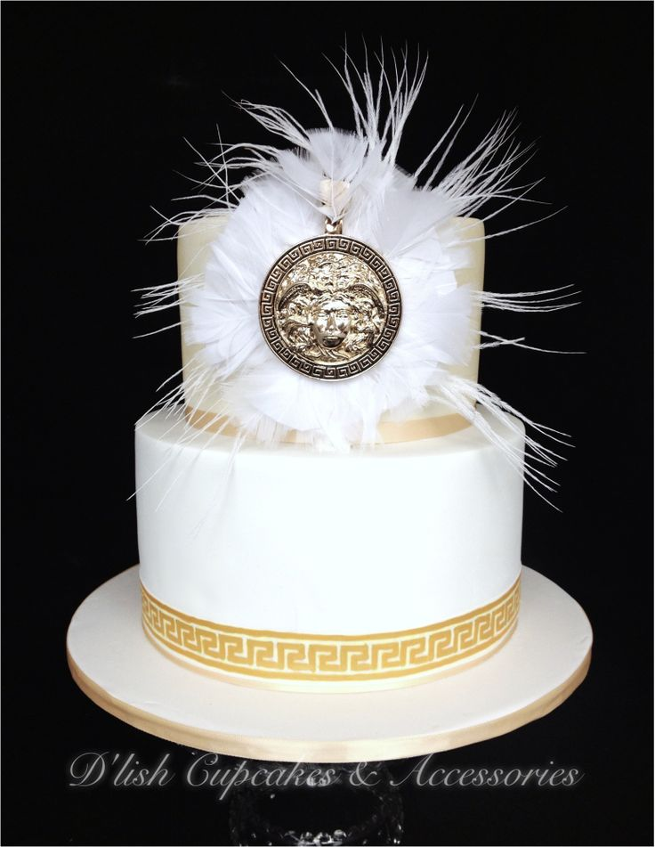 Versace Inspired Engagement Cake White And Gold