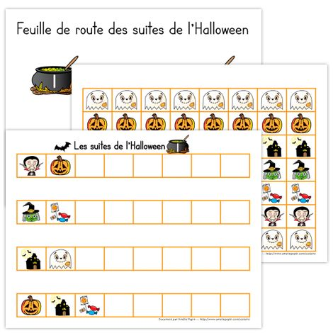 GRATUIT / FREE Voici un atelier de suites logiques pour le préscolaire sur le thème de l'Halloween. Le document contient 5 ateliers, 2 pages d'illustrations pour compléter les suites ainsi qu'une page de feuille de route. Vous pouvez plastifier ce document pour le conserver plus longtemps.