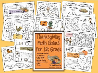 gwhizteacher, thanksgiving math games, TpT 1st grade math games