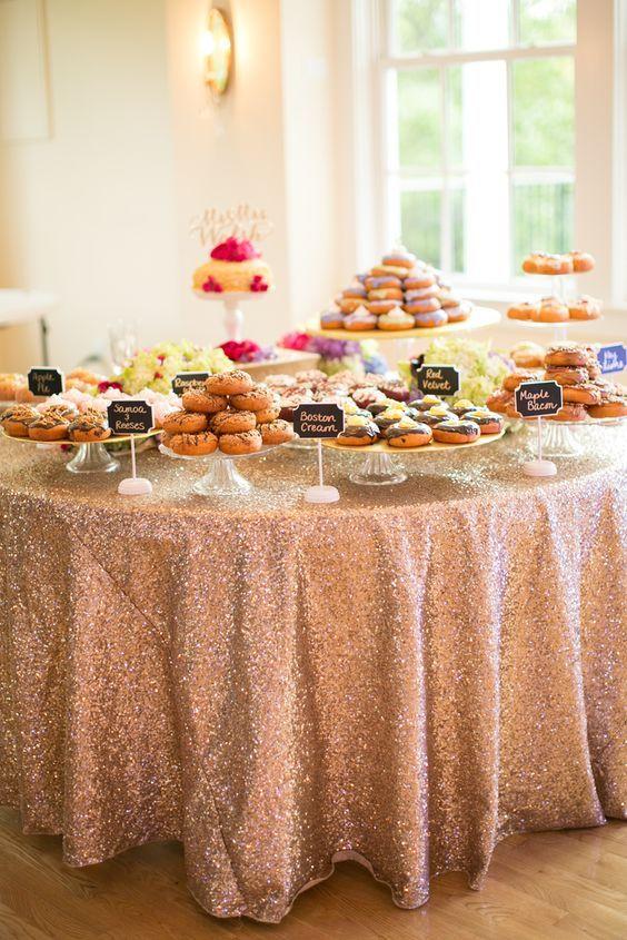 Unique Donut Blush Wedding Dessert Table Gold Wedding