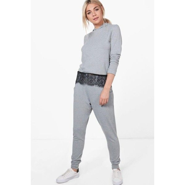 Boohoo Rebecca Lace Trim Hoody Loungewear Set ($26) ❤ liked on Polyvore featuring tops, white wrap top, sequin party tops, white turtleneck top, lace trim top and night out tops